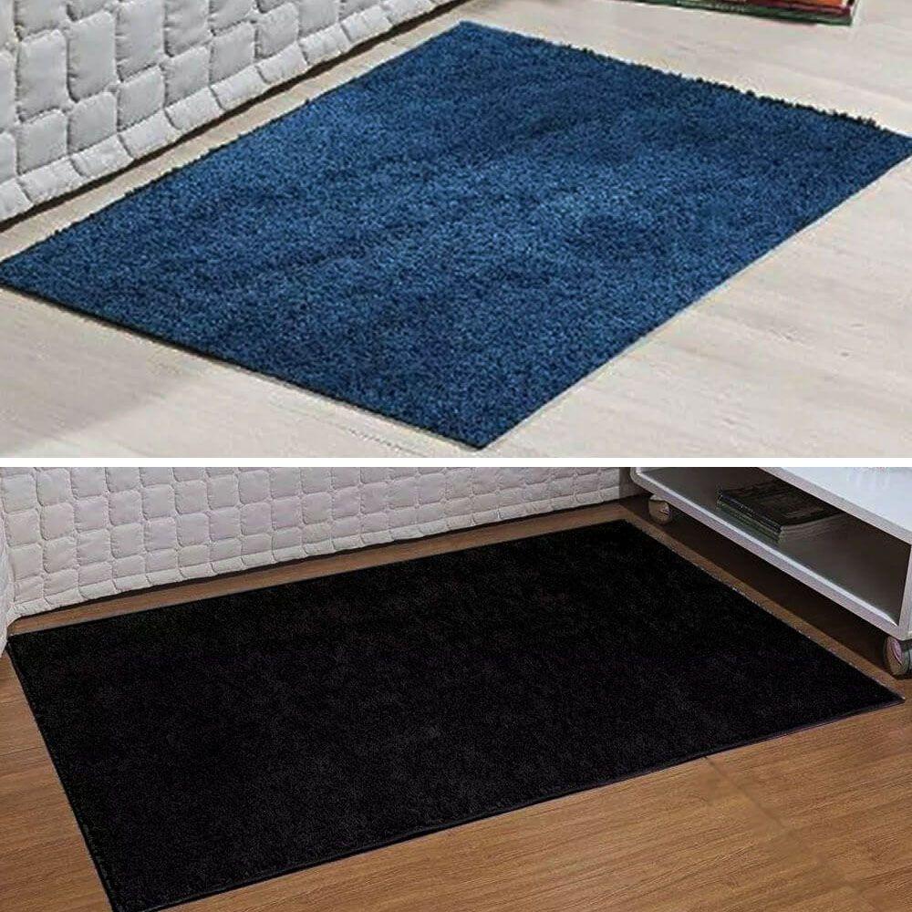 Conjunto 2 Passadeiras 66 x 120 cm Classic Azul Jeans e Preto