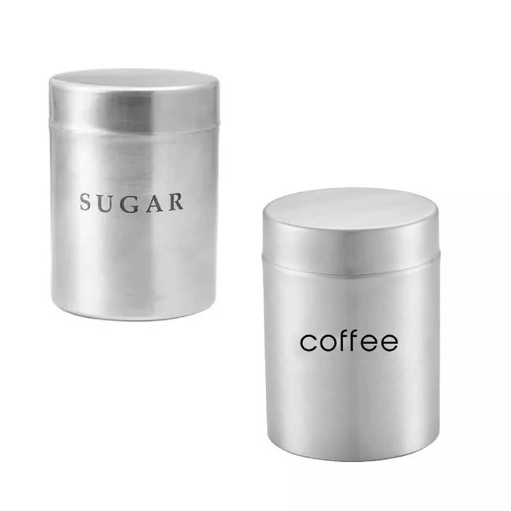 Conjunto 2 Potes Inox Mantimento Açúcar e Café Attuale