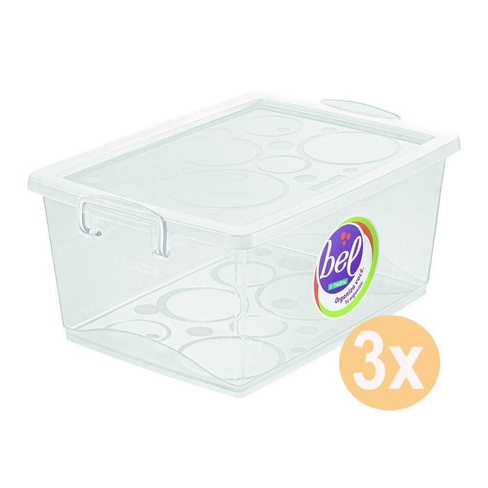 Conjunto 3 Caixa Organizadora Com Trava 15l Cristal Ordene