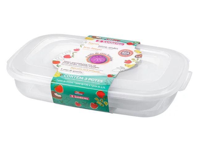 Conjunto 3 Potes De Plástico Retangulares Vac Freezer Sanremo