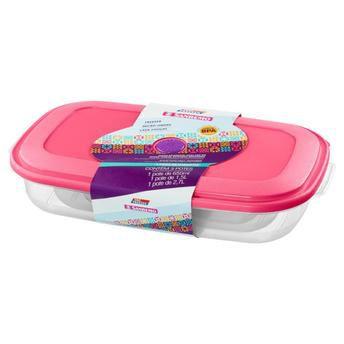 Conjunto 3 Potes De Plástico Retangulares Vac Freezer Sanremo Rosa