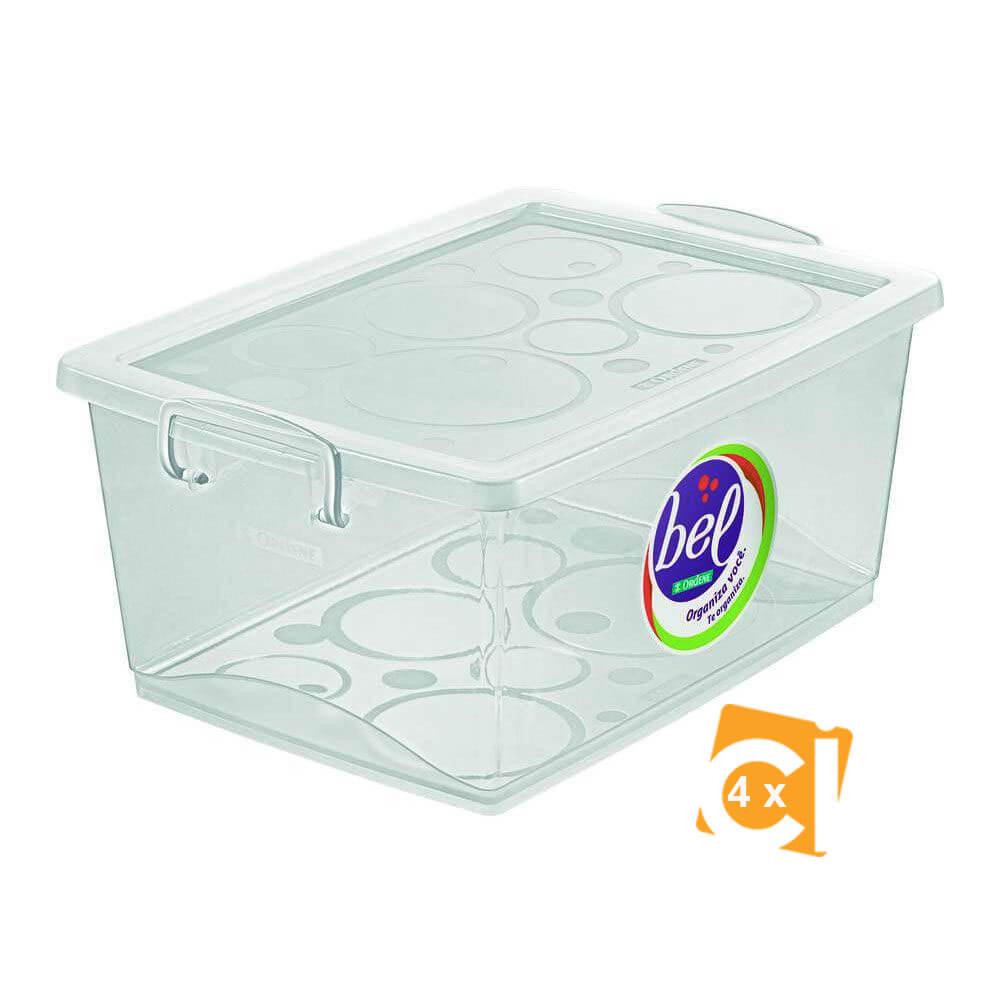 Conjunto 4 Caixa Organizadora Com Trava 15l Cristal Ordene
