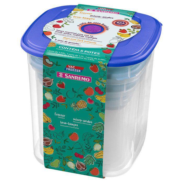 Conjunto 5 Potes Plastico Quadrados Alto Azul Sanremo