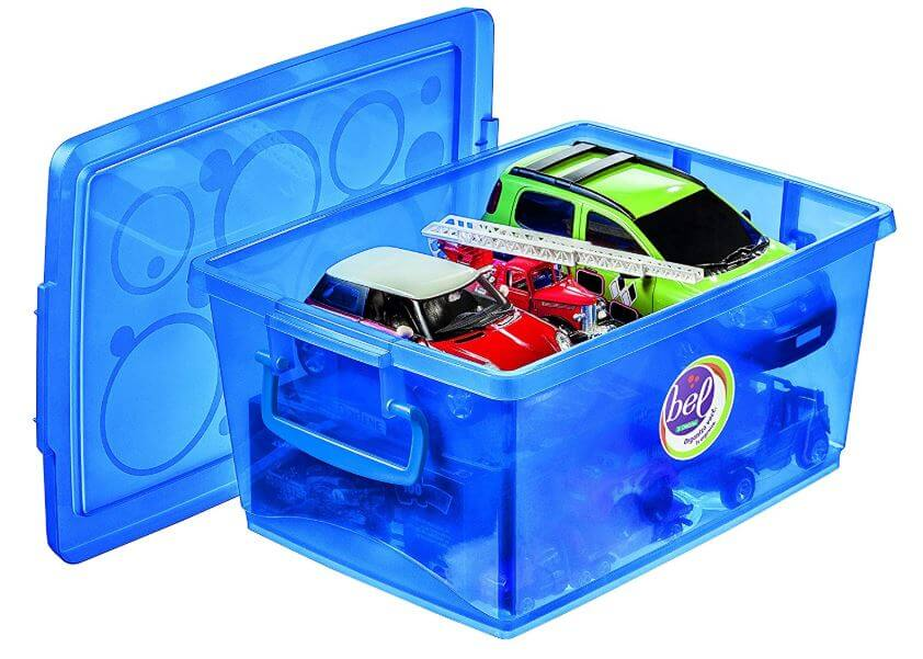 Conjunto Caixa Organizadora Com Trava 15 l Azul 4 Pçs Ordene