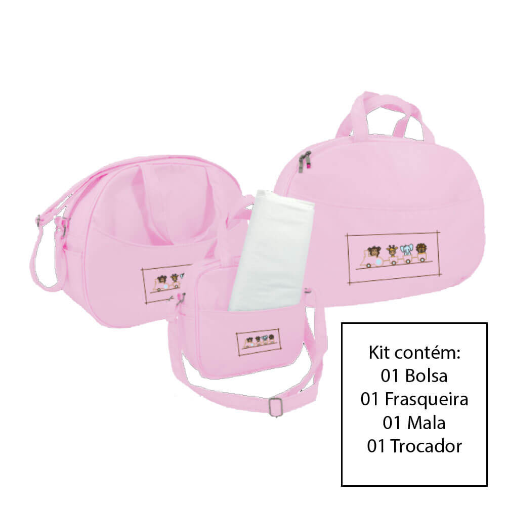 Kit Bolsa Maternidade 3 Peças Rosa Sapeca Kids