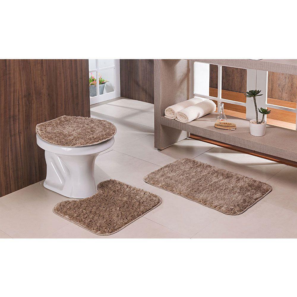 Conjunto Tapetes Banheiro Classic 3 Peças Cada Trigo E Preto