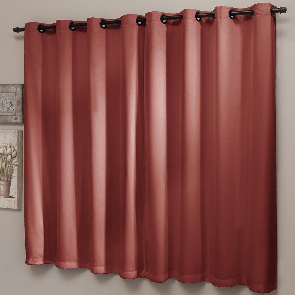 Cortina Blackout Liso PVC Com Voal 200 x 180 cm Vermelha Sultan
