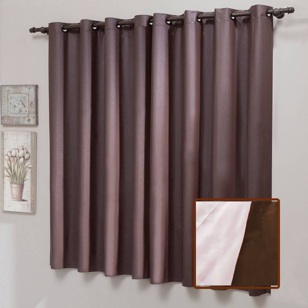 Cortina Blackout Liso PVC Com Voal 200 x 180 cm Marrom Sultan