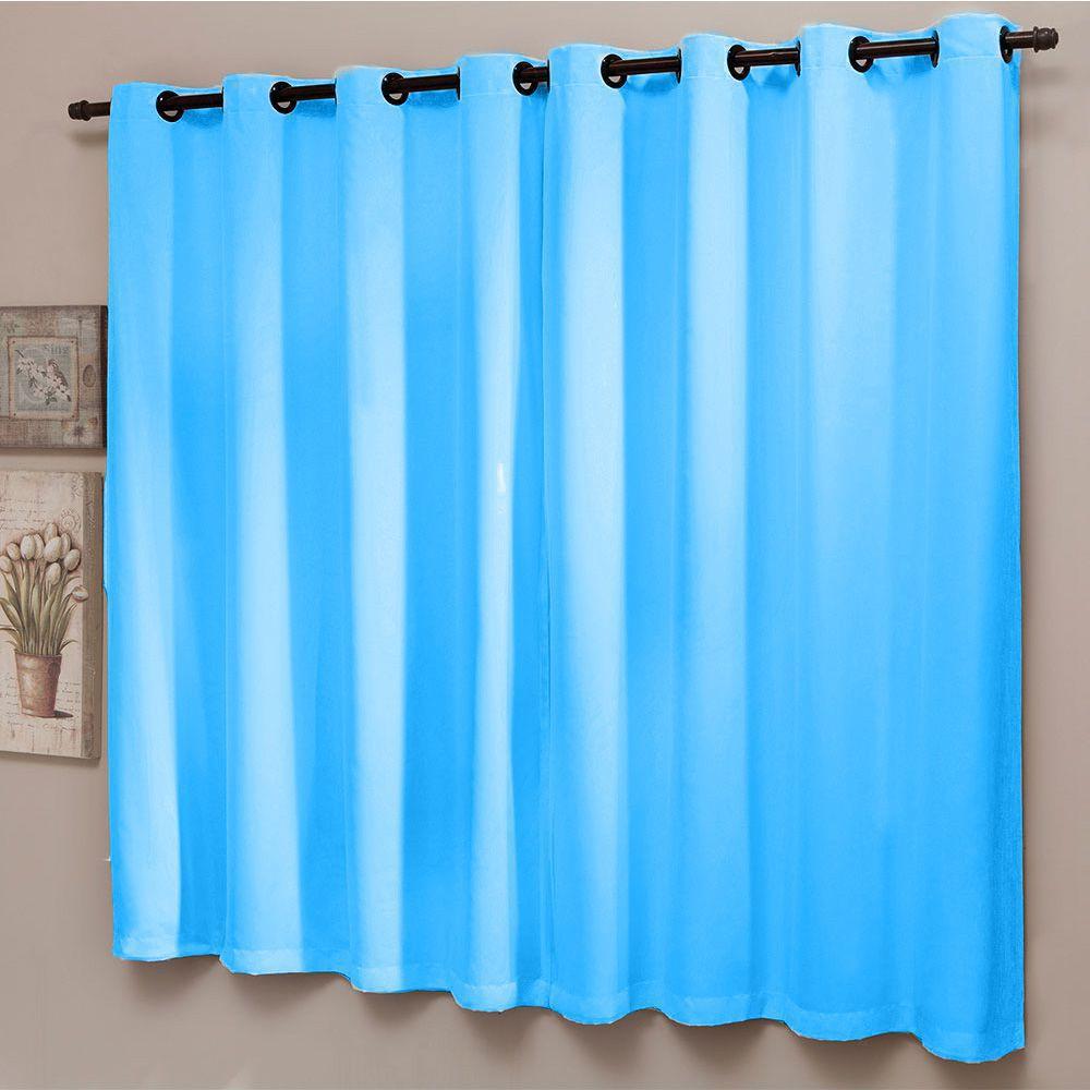 Cortina Sala 200 x 180 Azul Blackout Liso