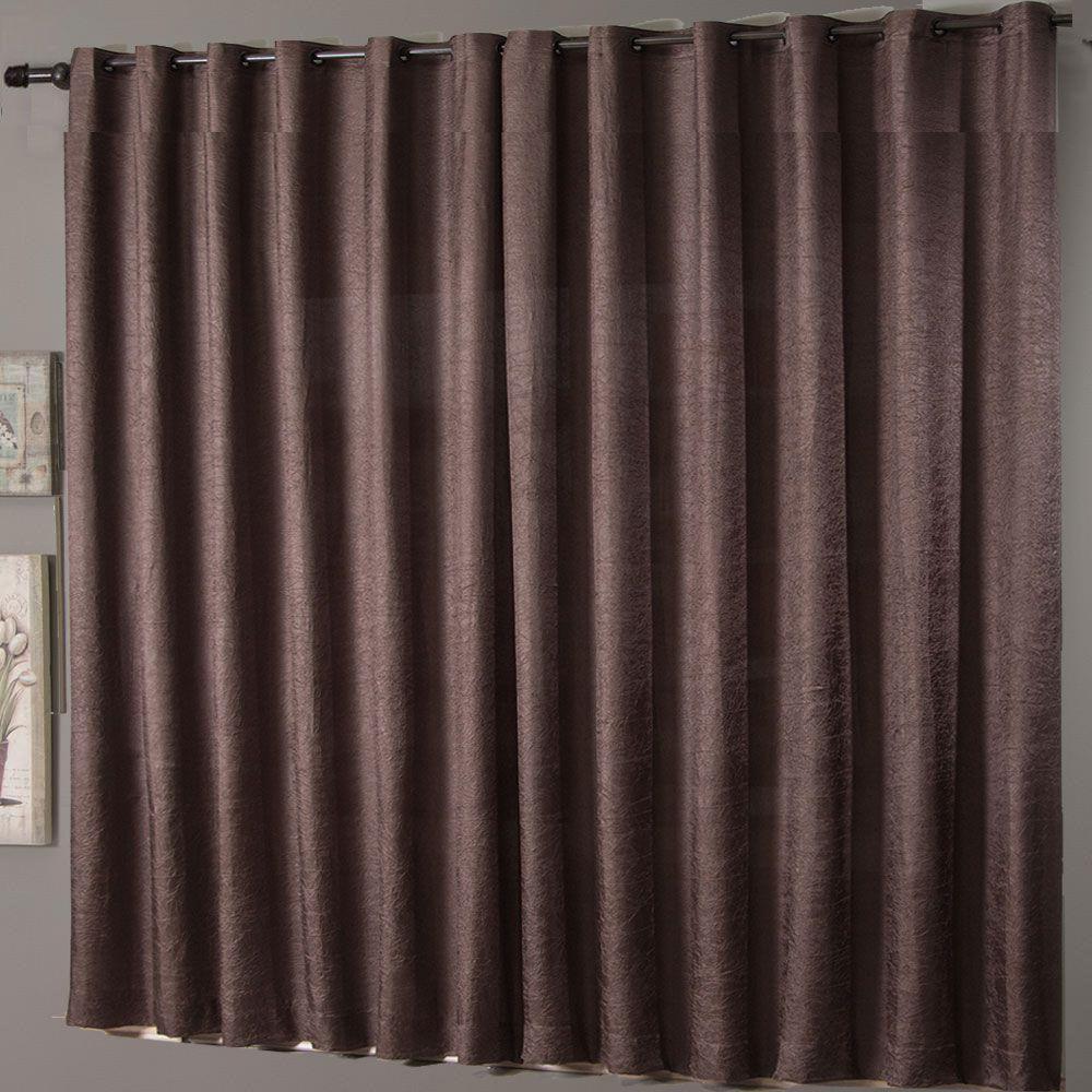 Cortina Sala 200 x 180 Cetim Amassado Marrom Chocolate