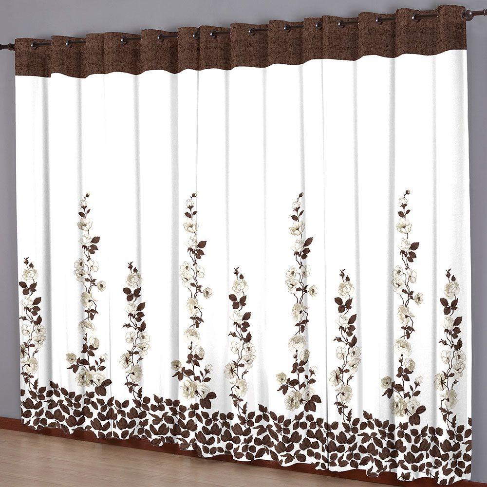 Cortina Sala 220x240 Estampada Valência Marrom Chocolate