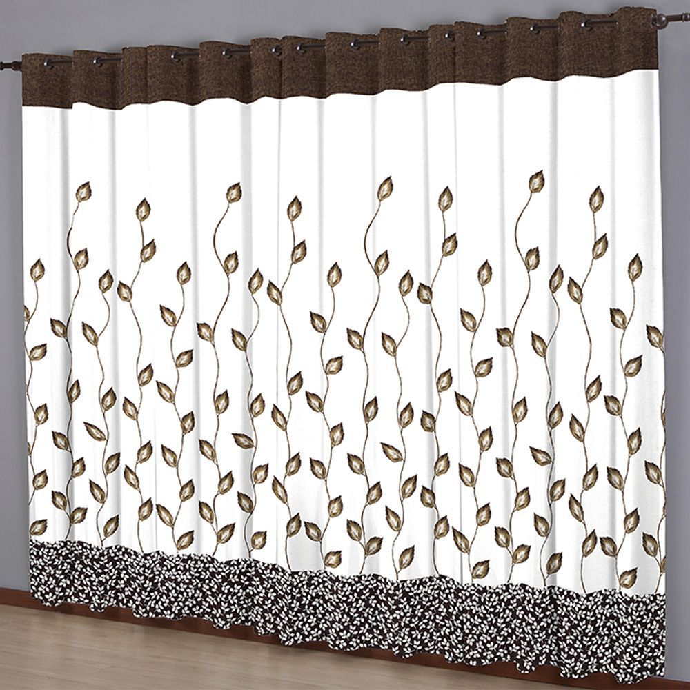 Cortina Sala 300 x 240 Estampada Folhas Chocolate