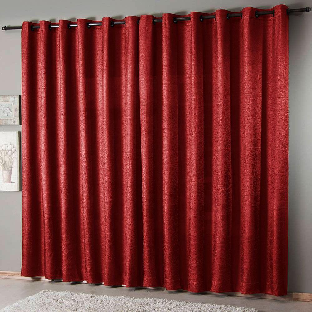 Cortina Sala 300 x 250 cm Cetim Amassado Vermelho Sultan