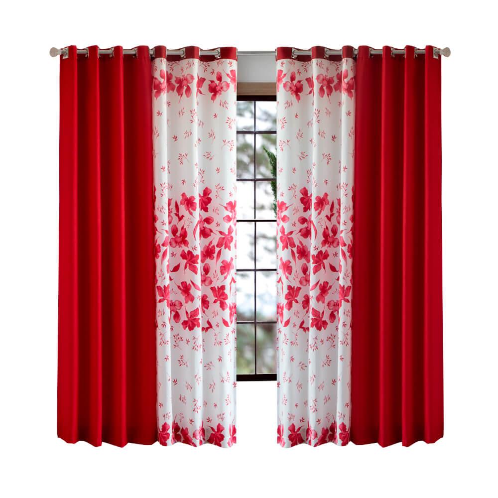 Cortina Sala 300 x 250 cm Combinada Nantes Vermelha