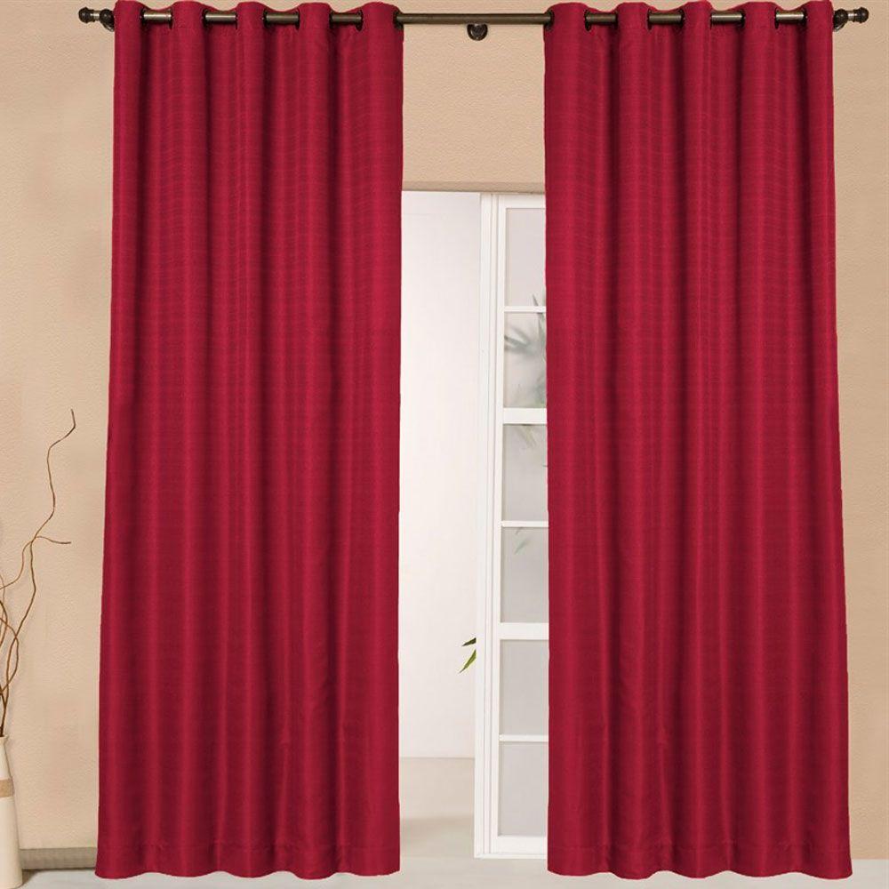 Cortina Sala 280 X 250 cm Granite Vermelho Cereja Ilhoses