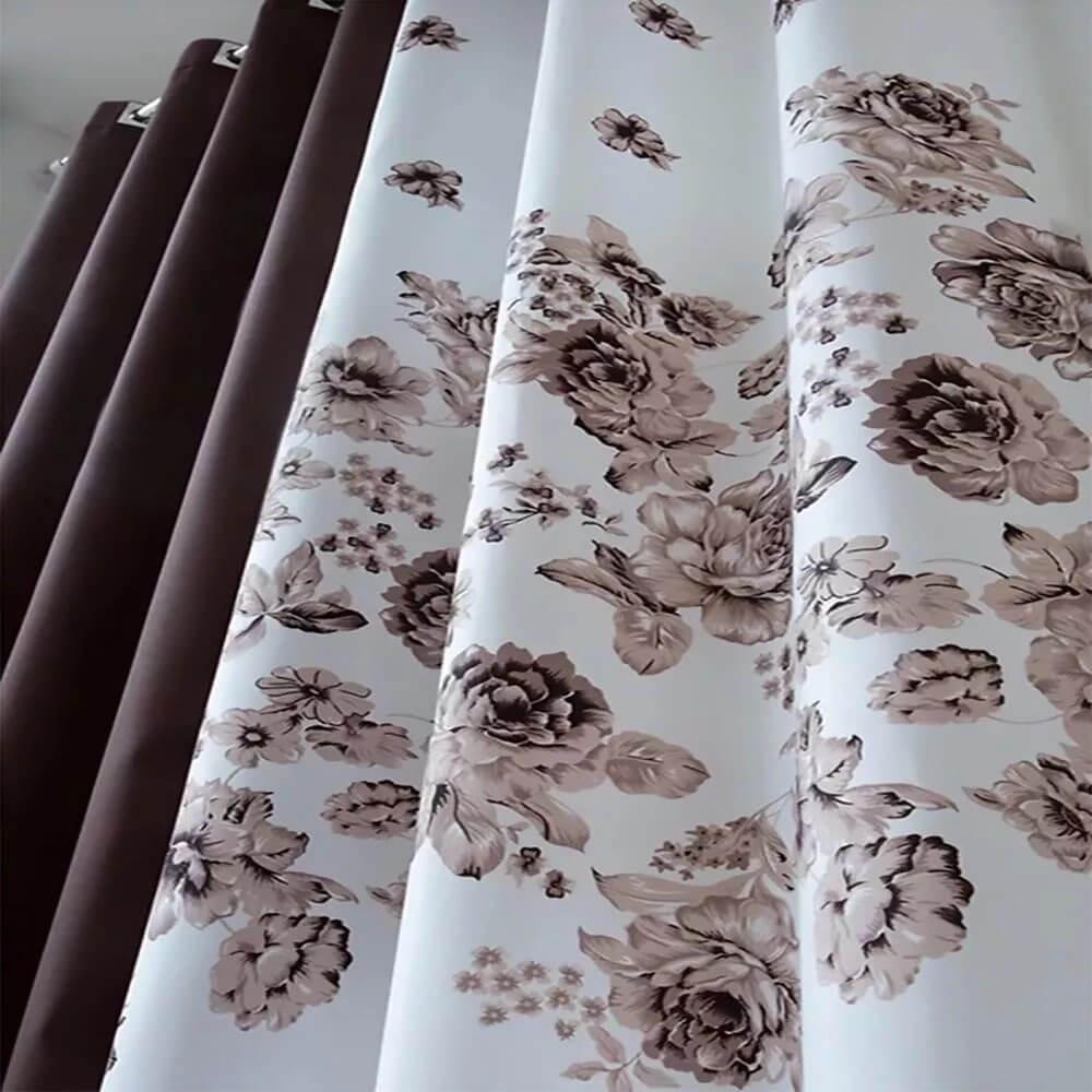 Cortina Sala 300 x 250 cm Horto Chocolate Marrom Estampada