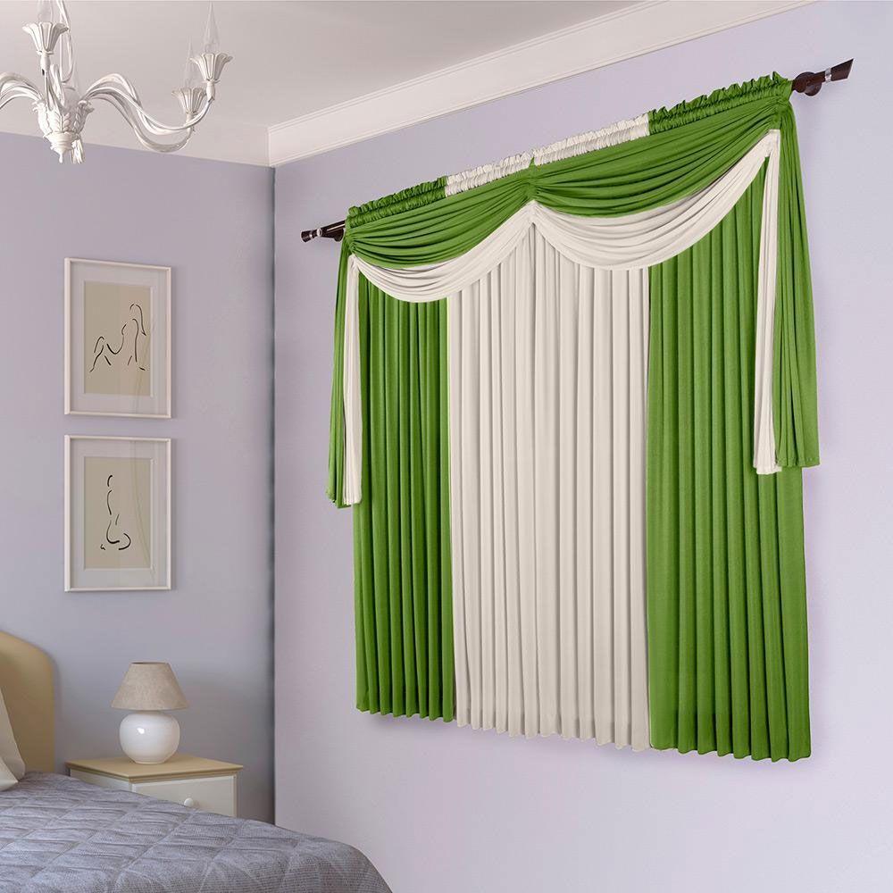 Cortina Sala 200 x 180 cm Malha com Bandô Cairo Verde