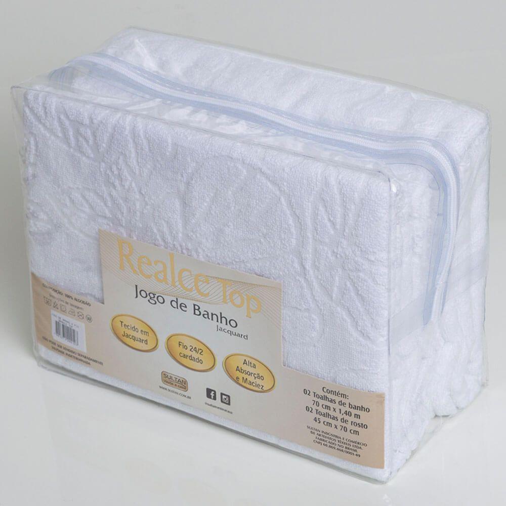 Jogo de Banho Toalhas 4 Pçs 100% Algodão Branco Top Sultan