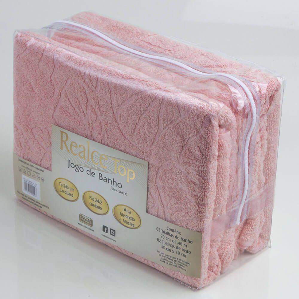 Jogo de Banho Toalhas 4 Pçs 100% Algodão Rosa Moderno Top Sultan