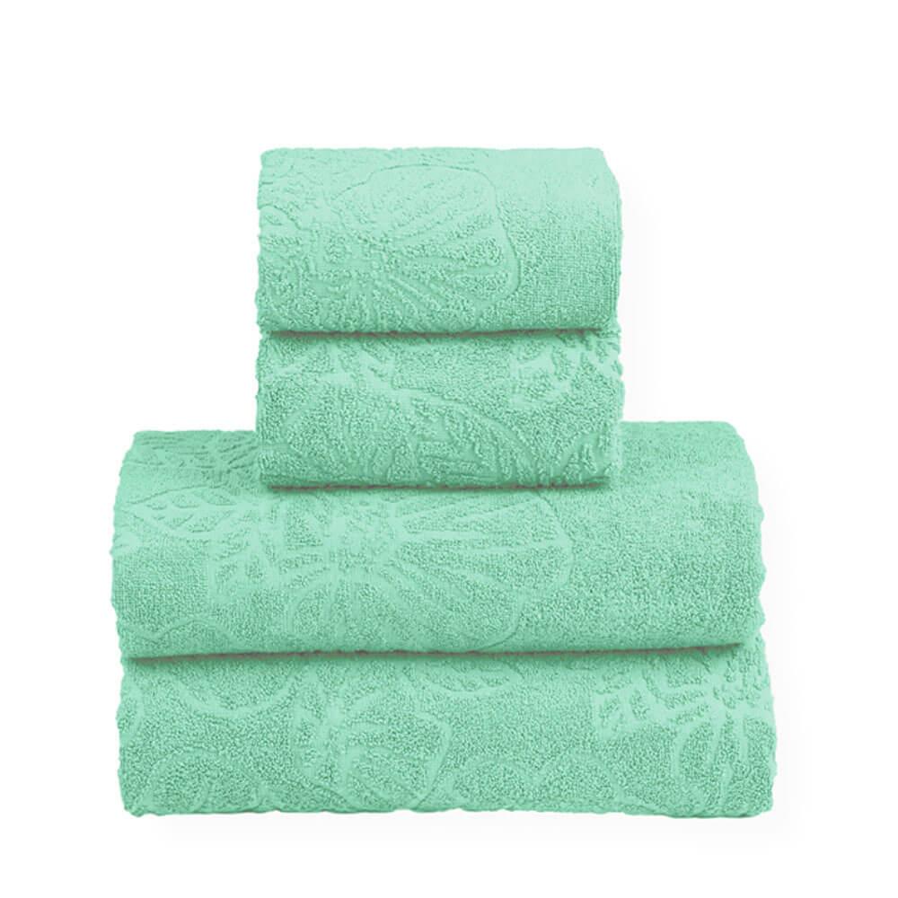 Jogo de Banho Toalhas 4 Pçs 100% Algodão Verde Folhas Top Sultan