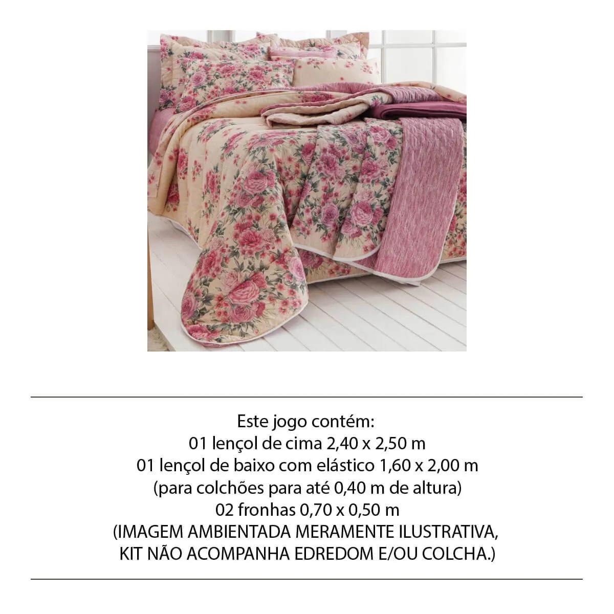 Jogo de Lençol Queen 4 Peças 140 Fios Realce Premium Helena