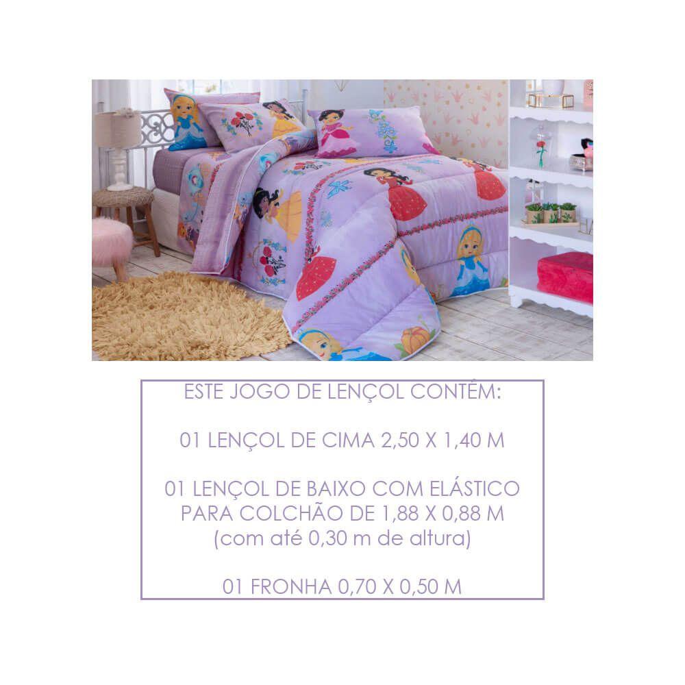 Jogo de Lençol Solteiro Infantil 3 Peças 140 Fios Happy Day Lady