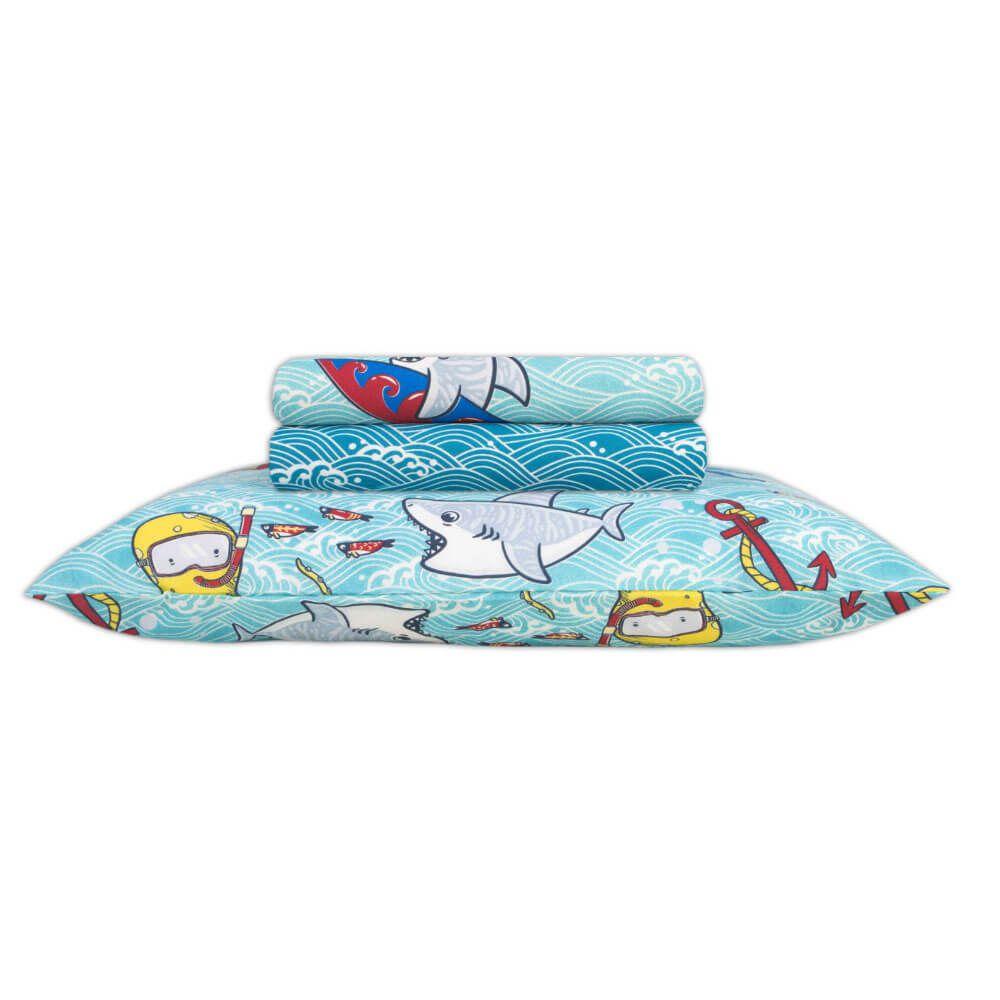Jogo de Lençol Solteiro Infantil 3 Peças 140 Fios Happy Day Shark