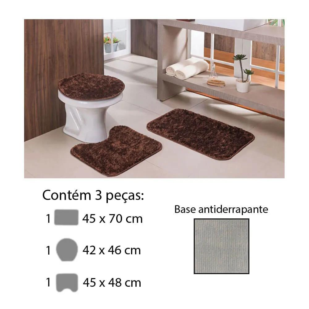 Jogo de Tapete para Banheiro Classic 3 Peças Castor Oasis