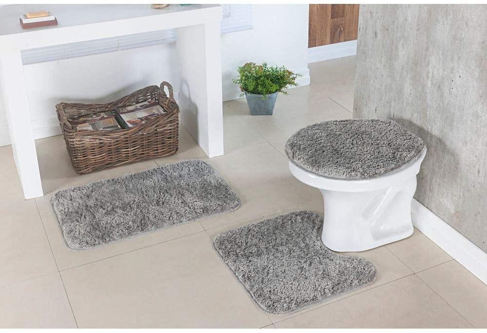 Jogo de Tapete para Banheiro Classic 3 Peças Cinza Oasis