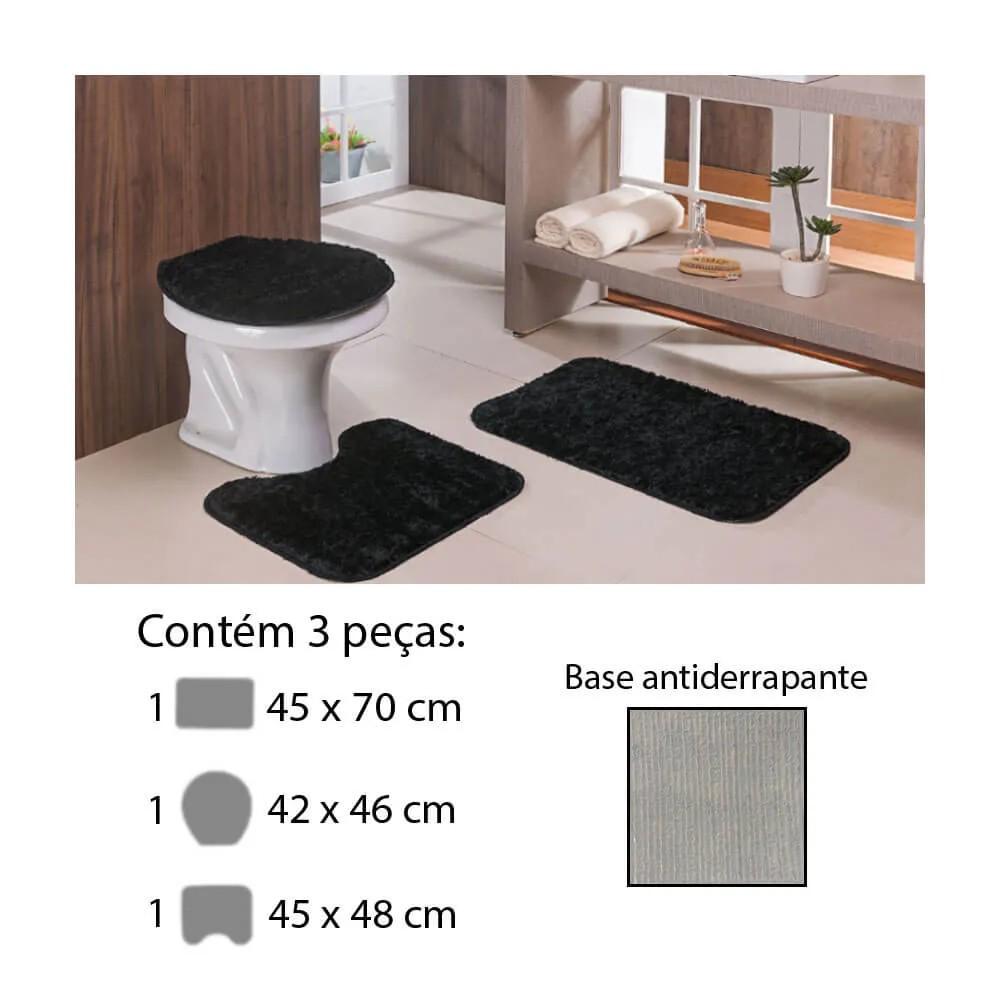 Jogo de Tapete para Banheiro Classic 3 Peças Preto Oasis