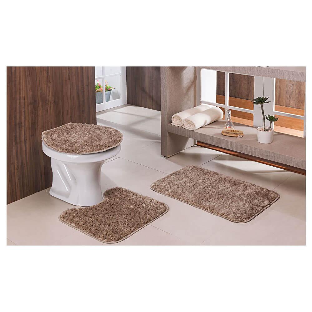 Jogo de Tapete para Banheiro Classic 3 Peças Trigo Oasis