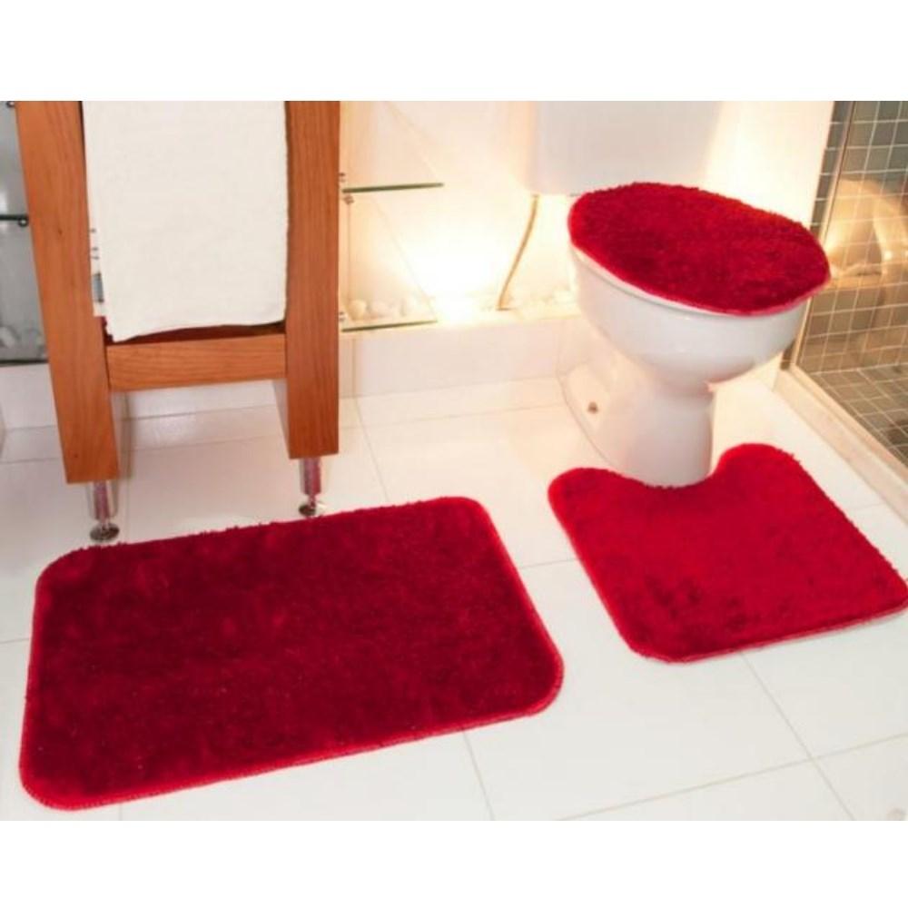 Jogo de Tapete para Banheiro Classic 3 Peças Vermelho Cereja Oasis