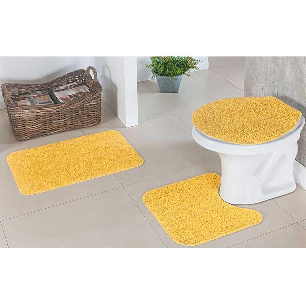 Jogo de Tapete para Banheiro Natura 3 Peças Amarelo Oasis