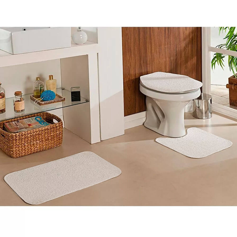 Jogo de Tapete para Banheiro Natura 3 Peças Cru Oasis