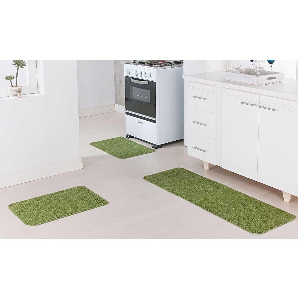 Jogo Tapete Cozinha Relevo 3 Peças Verde
