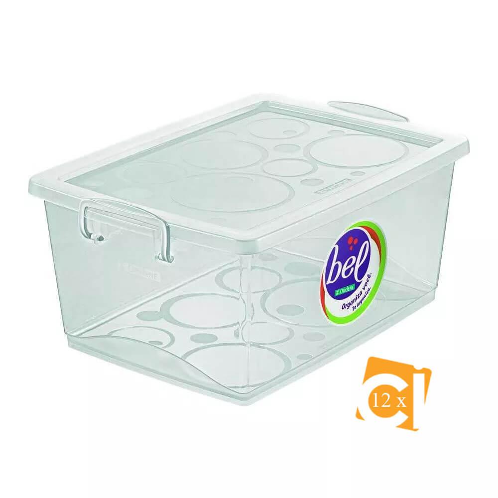 Kit 12 Caixas Organizadoras Com Trava 30l Cristal Ordene