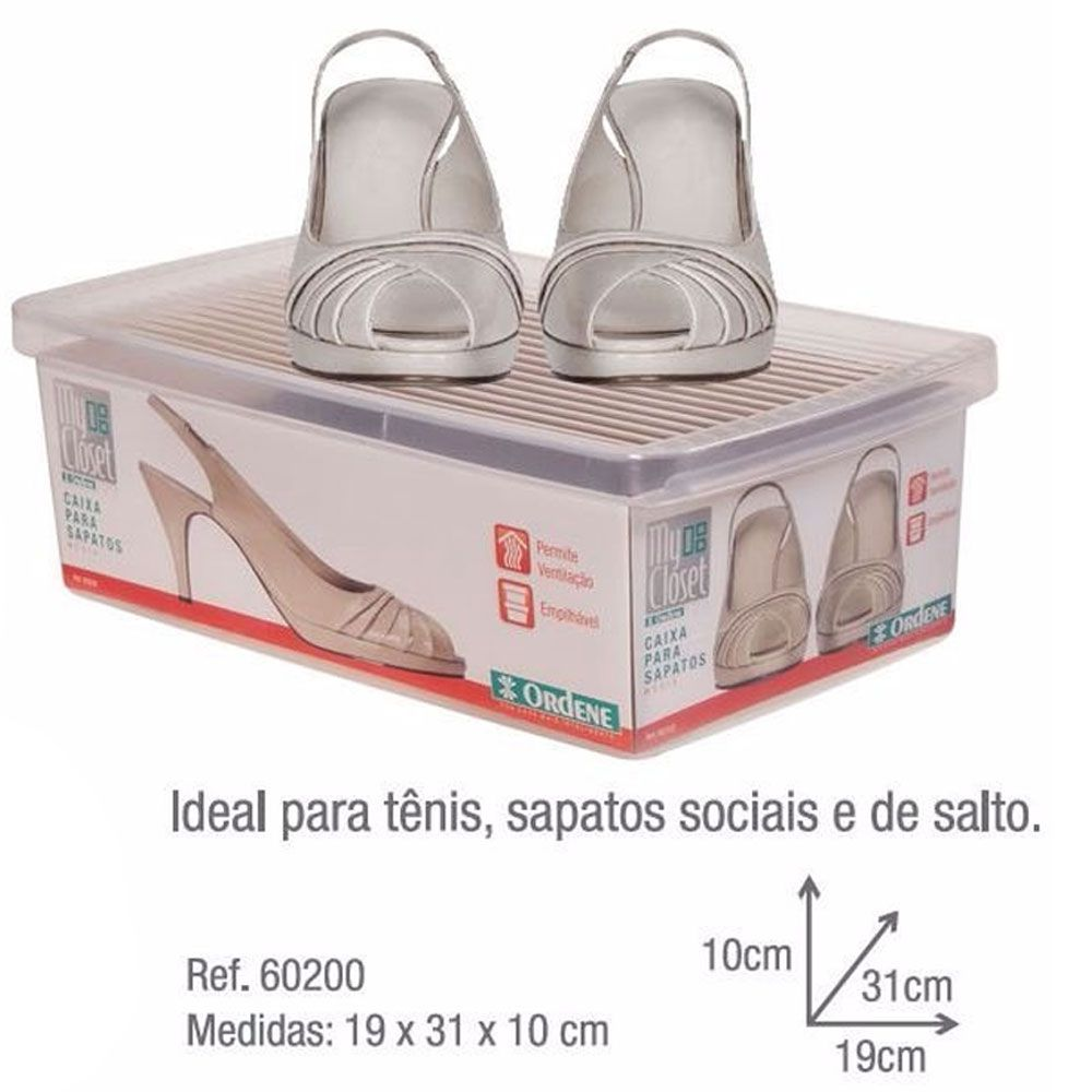 Kit 12 Caixas Sapatos Organizadora Media Ordene 19 X 31 X 10