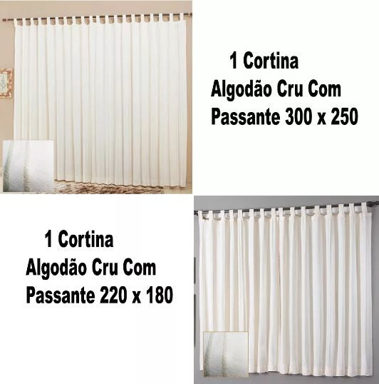 Kit 1 Cortina 300x250 1 Cortina 220x180 Algodão Cru Passante