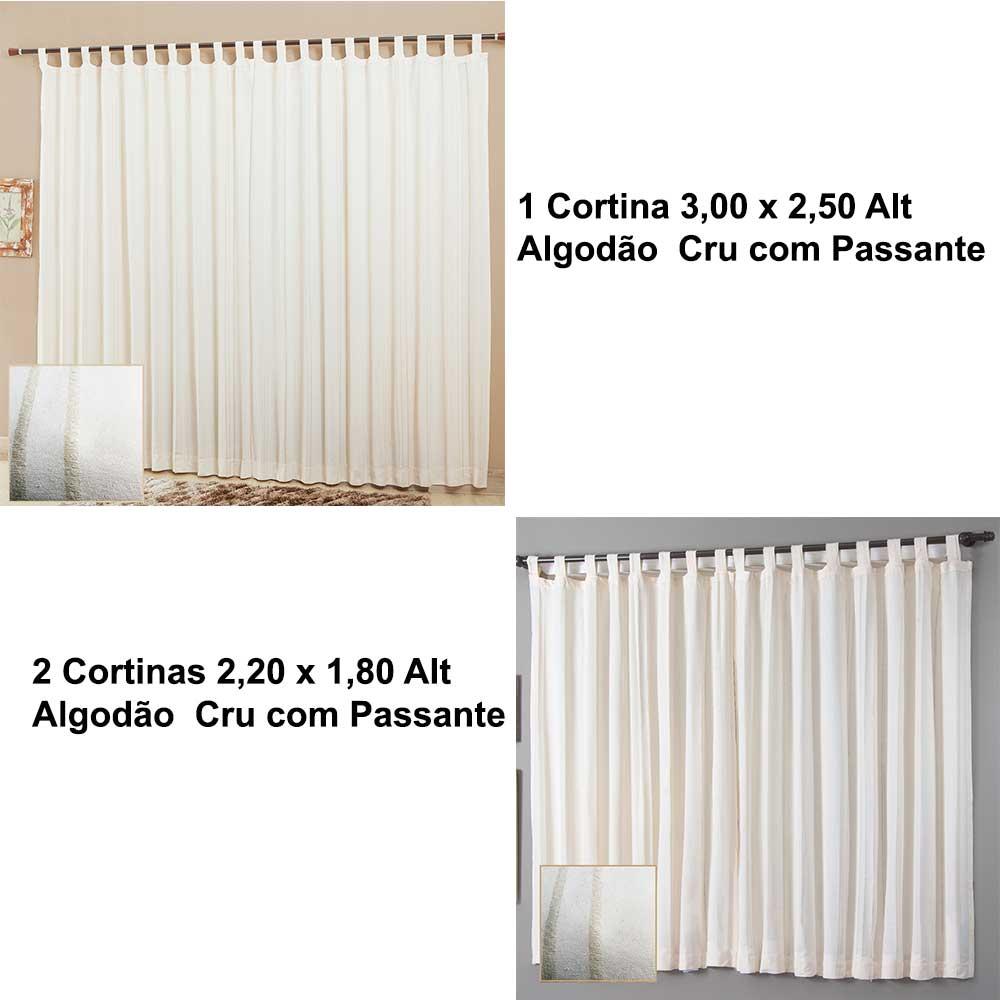 Kit 1 Cortina 300x250 2 Cortinas 220x180 Algodao Cru Passante