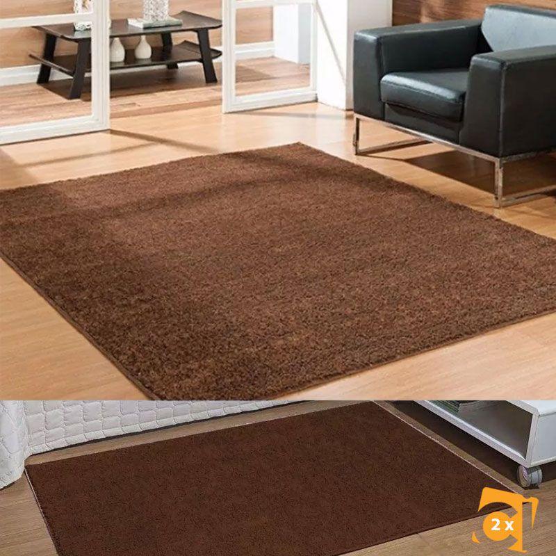 Kit 1 Tapete Sala Classic Castor 100 x 150 e 2 50x100 Marrom