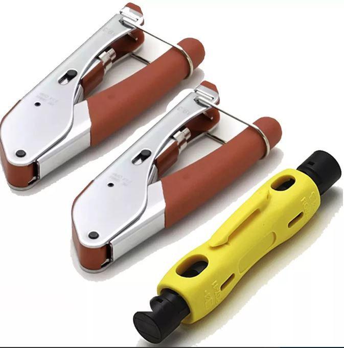 Kit 2 Alicate Crimpar 518 E 1 Decapador Rg11rg59 Rg6 Coaxial hy-323