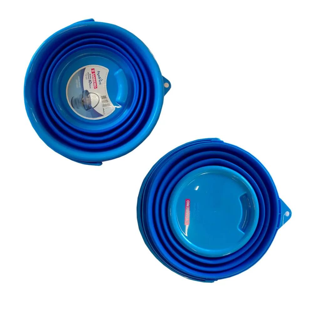 Kit 2 Balde Retrátil 10 Litros Silicone Hydrus Azul Sanremo
