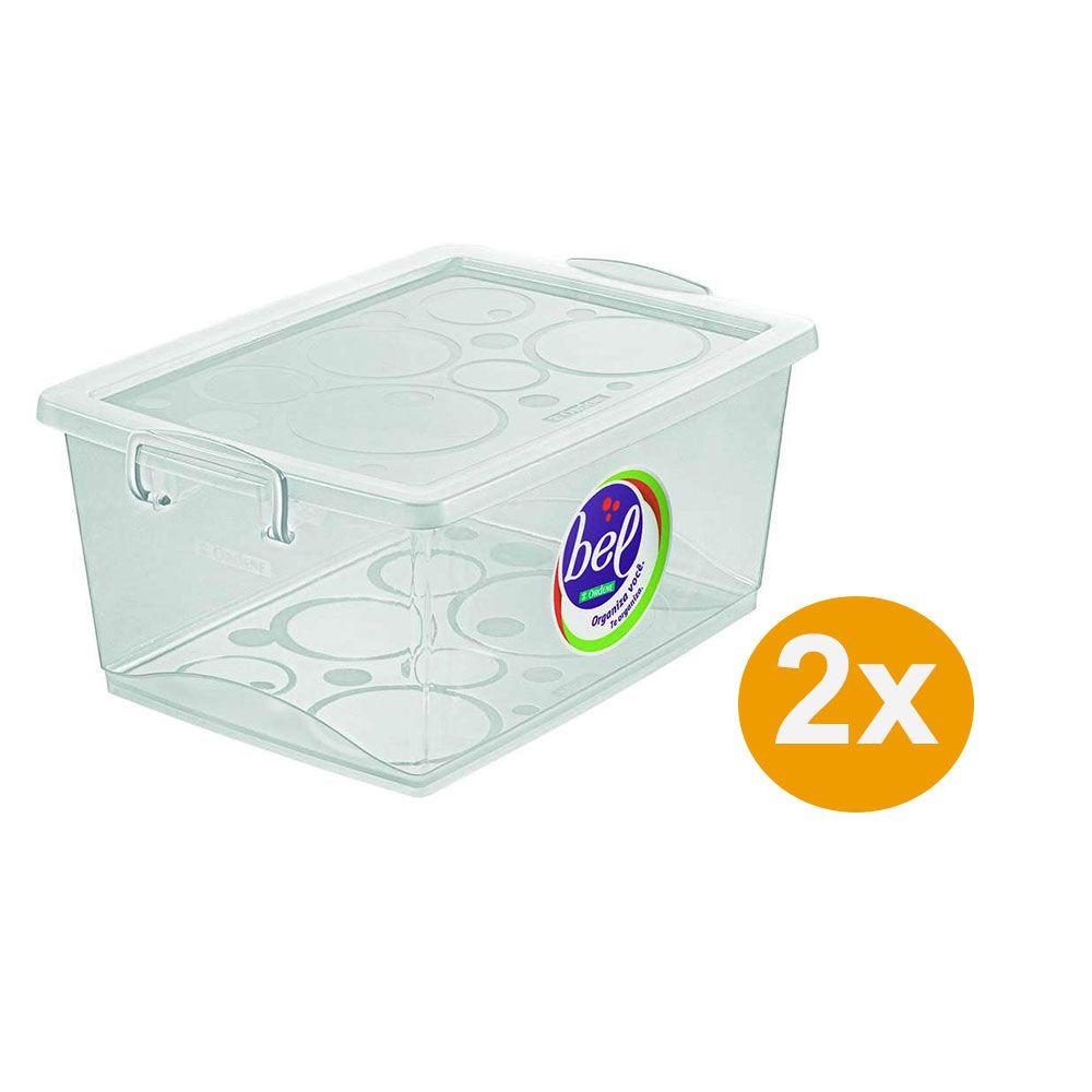 Kit 2 Caixa Organizadora Com Trava 4l Cristal - Ordene