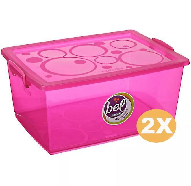 Kit 2 Caixas Organizadora Com Trava Rosa 30 Litros Ordene OR80755