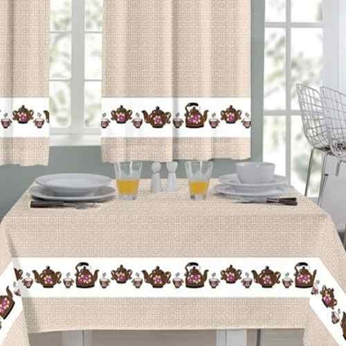 Kit 2 Cortina Cozinha 200 x 140 Toalha De Mesa 145 x 140 Mafalda