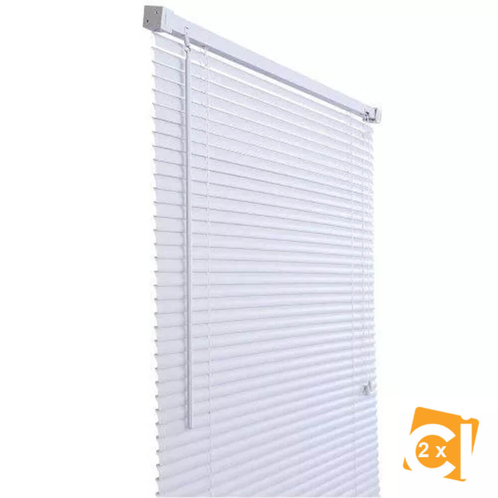 Kit 2 Cortinas Persiana Horizontal Pvc 25mm 160x160 Branca Primafer
