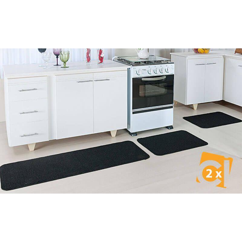 Kit 2 Jogos de tapetes para Cozinha Preto Relevo 6 peças