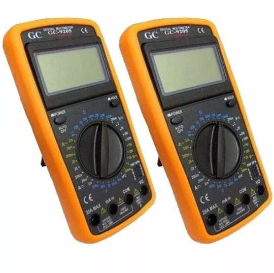 Kit 2 Multímetro Digital Aviso Sonoro Leitor Lcd + Capa GC-9205