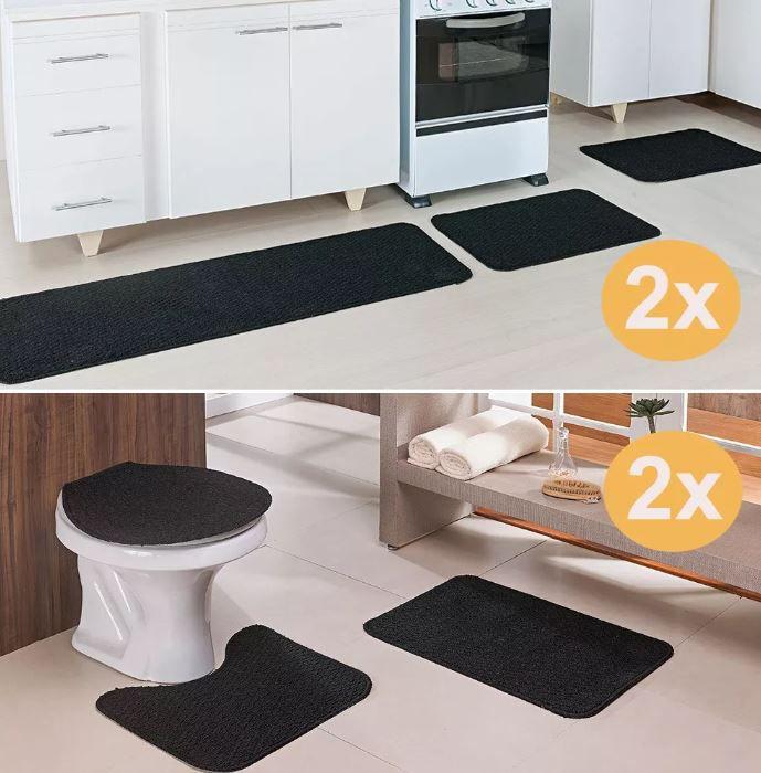 Kit 2 Tapete Cozinha E 2 Banheiro Relevo Preto 3 Peças Cada