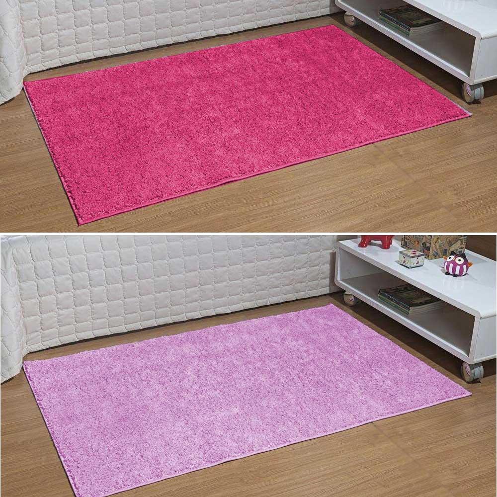 Kit 2 Tapete Passadeira Quarto Classic 50 cm X 1,00 m Rosa E Pink